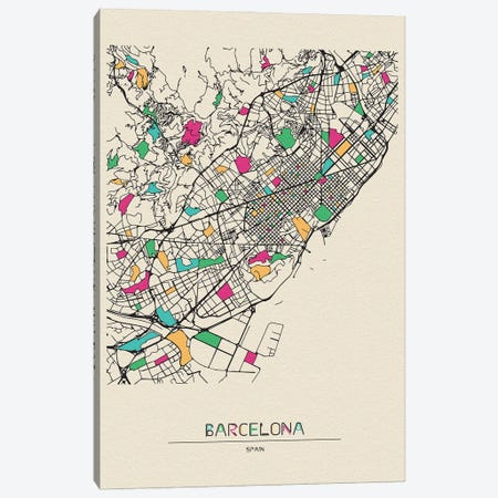 Barcelona, Spain Map Canvas Print #ADA151} by Ayse Deniz Akerman Canvas Art Print