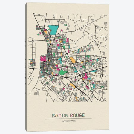 Baton Rouge, Louisiana Map Canvas Print #ADA152} by Ayse Deniz Akerman Art Print