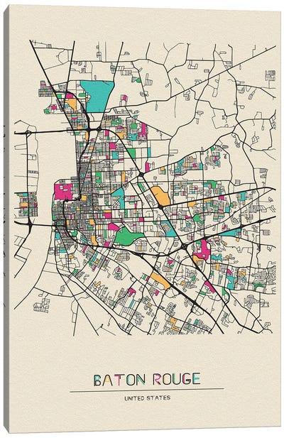 Baton Rouge, Louisiana Map Canvas Art Print