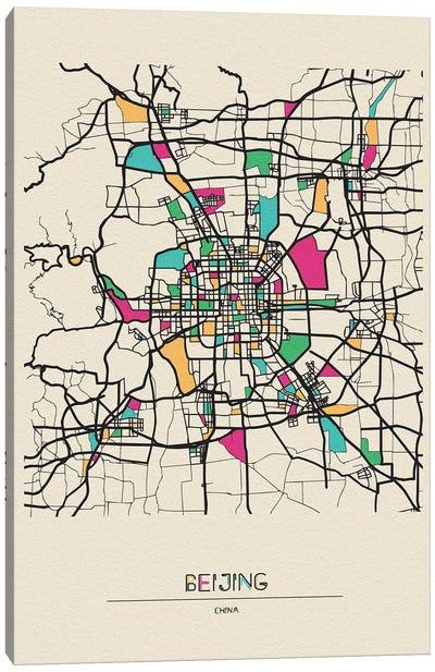 Beijing, China Map Canvas Art Print