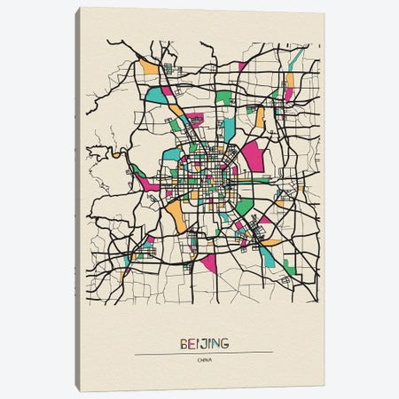 Beijing, China Map 3-Piece Canvas #ADA153} by Ayse Deniz Akerman Canvas Art Print