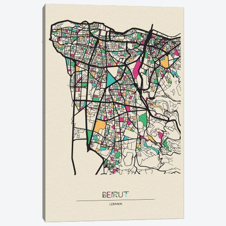Beirut, Lebanon Map Canvas Print #ADA156} by Ayse Deniz Akerman Canvas Wall Art