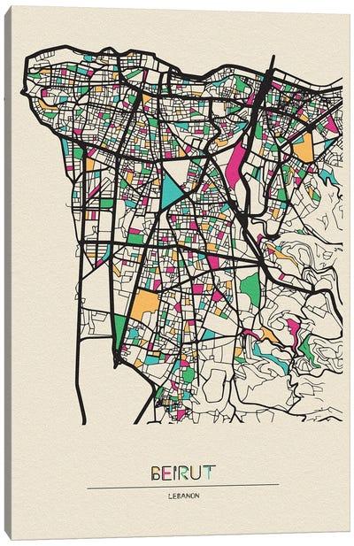 Beirut, Lebanon Map Canvas Art Print