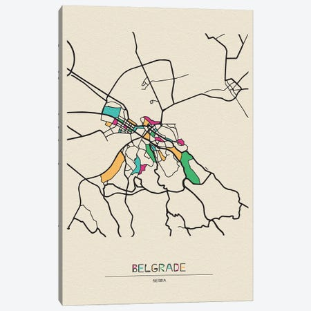 Belgrade, Serbia Map Canvas Print #ADA157} by Ayse Deniz Akerman Canvas Wall Art