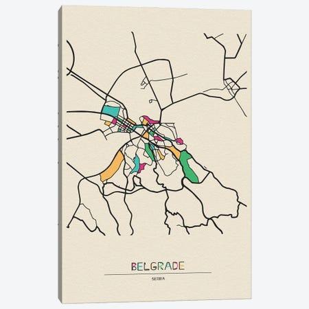 Belgrade, Serbia Map Canvas Print #ADA157} by Ayse Deniz Akerman Canvas Wall Art
