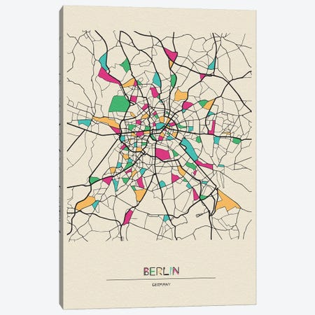 Berlin, Germany Map Canvas Print #ADA159} by Ayse Deniz Akerman Canvas Art Print