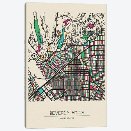 Beverly Hills, California Map Canvas Print #ADA161} by Ayse Deniz Akerman Canvas Art