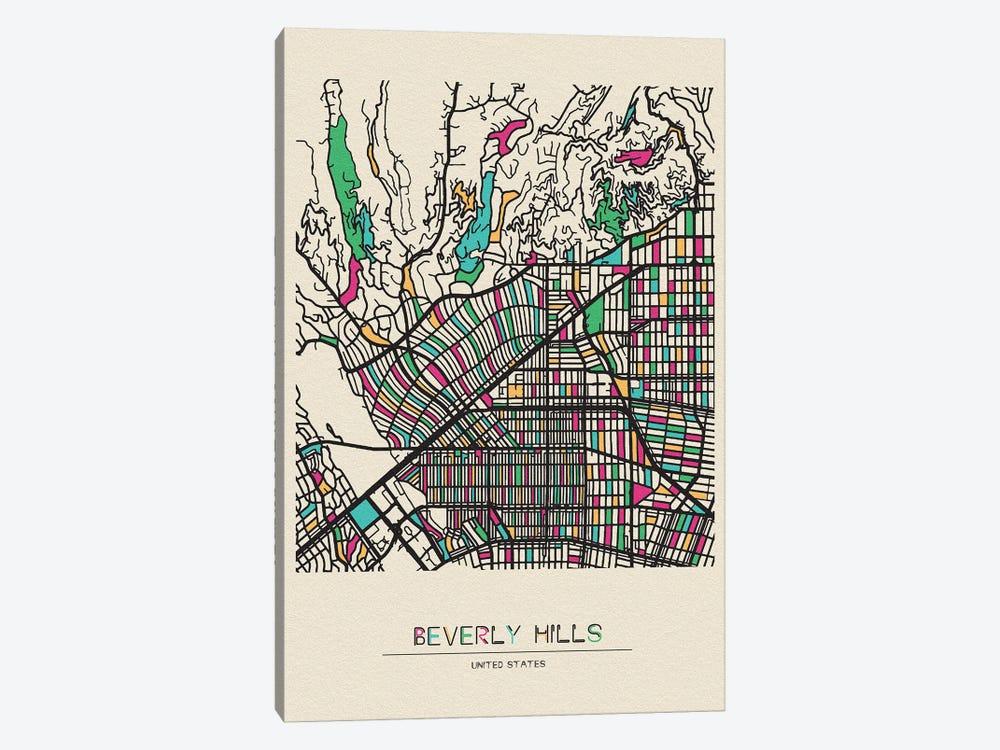 Beverly Hills, California Map by Ayse Deniz Akerman 1-piece Art Print