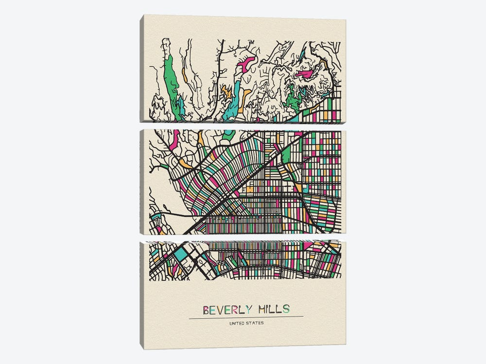 Beverly Hills, California Map by Ayse Deniz Akerman 3-piece Art Print