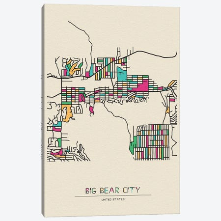 Big Bear City, California Map Canvas Print #ADA162} by Ayse Deniz Akerman Canvas Wall Art