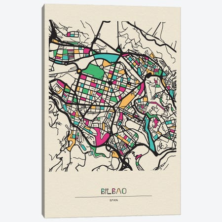 Bilbao, Spain Map Canvas Print #ADA163} by Ayse Deniz Akerman Canvas Art