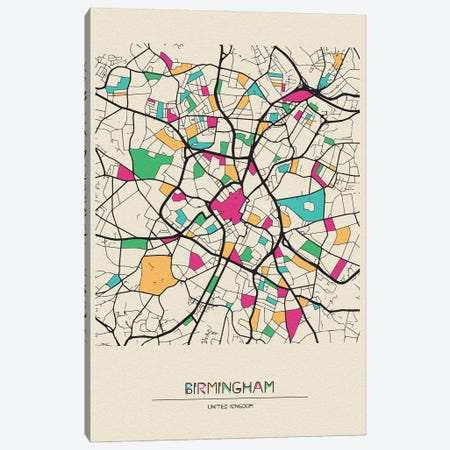 Birmingham, England Map Canvas Print #ADA164} by Ayse Deniz Akerman Canvas Art Print
