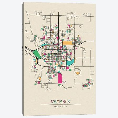 Bismarck, North Dakota Map Canvas Print #ADA165} by Ayse Deniz Akerman Canvas Print