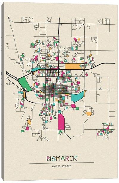 Bismarck, North Dakota Map Canvas Art Print