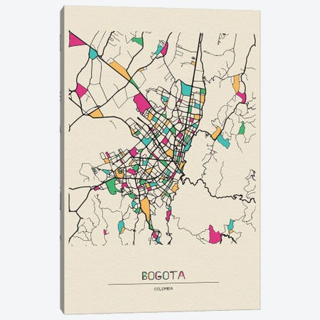 Bogota, Colombia Map Canvas Print #ADA166} by Ayse Deniz Akerman Art Print