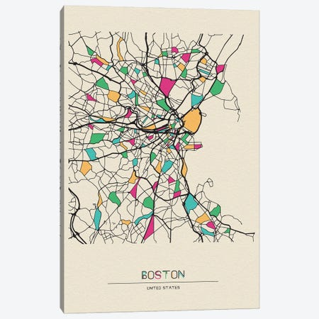 Boston, Massachusetts Map 3-Piece Canvas #ADA168} by Ayse Deniz Akerman Canvas Art