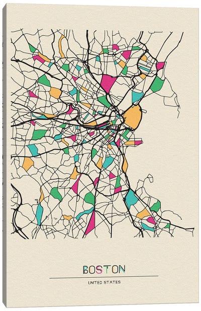 Boston, Massachusetts Map Canvas Art Print
