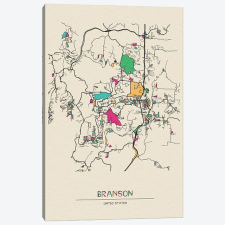 Branson, Missouri Map Canvas Print #ADA169} by Ayse Deniz Akerman Canvas Artwork