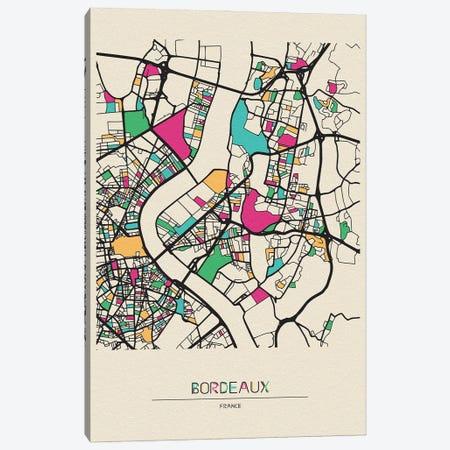 Bordeaux, France Map Canvas Print #ADA170} by Ayse Deniz Akerman Art Print