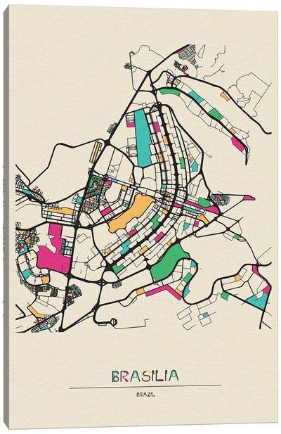 Brasilia, Brazil Map Canvas Art Print