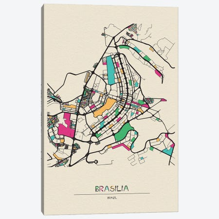 Brasilia, Brazil Map Canvas Print #ADA172} by Ayse Deniz Akerman Art Print