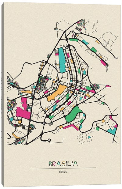 Brasilia, Brazil Map Canvas Art Print
