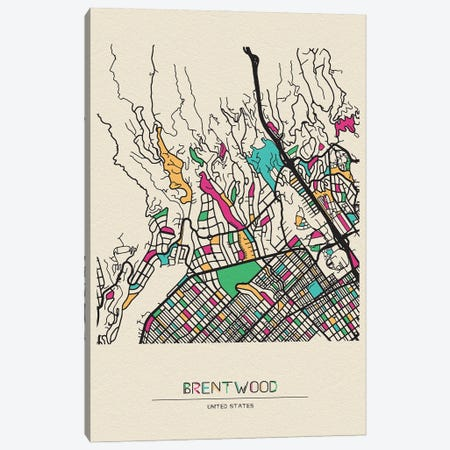 Brentwood, Los Angeles Map Canvas Print #ADA173} by Ayse Deniz Akerman Art Print