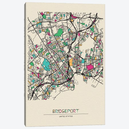 Bridgeport, Connecticut Map Canvas Print #ADA174} by Ayse Deniz Akerman Canvas Artwork