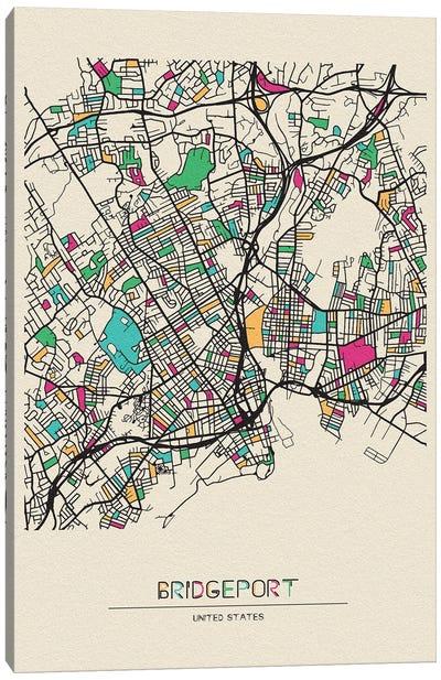 Bridgeport, Connecticut Map Canvas Art Print