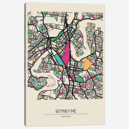 Brisbane, Australia Map Canvas Print #ADA175} by Ayse Deniz Akerman Canvas Wall Art