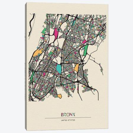 Bronx, New York Map Canvas Print #ADA176} by Ayse Deniz Akerman Canvas Wall Art
