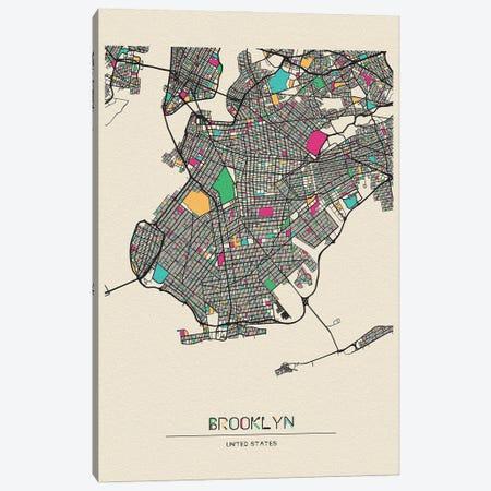 Brooklyn, New York Map Canvas Print #ADA177} by Ayse Deniz Akerman Canvas Art