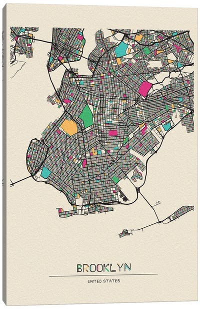 Brooklyn, New York Map Canvas Art Print