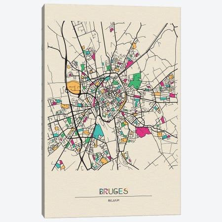 Bruges, Belgium Map Canvas Print #ADA178} by Ayse Deniz Akerman Canvas Print