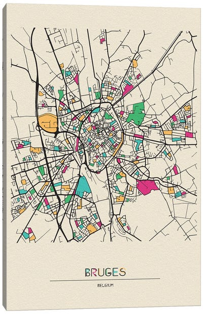 Bruges, Belgium Map Canvas Art Print