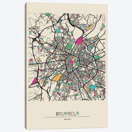 Brussels, Belgium Map Canvas Print #ADA179} by Ayse Deniz Akerman Canvas Print