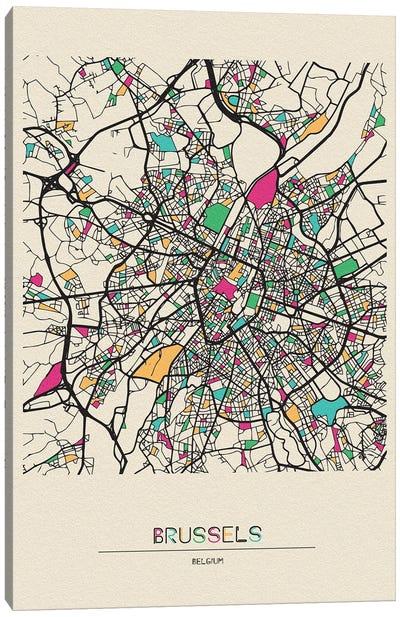 Brussels, Belgium Map Canvas Art Print