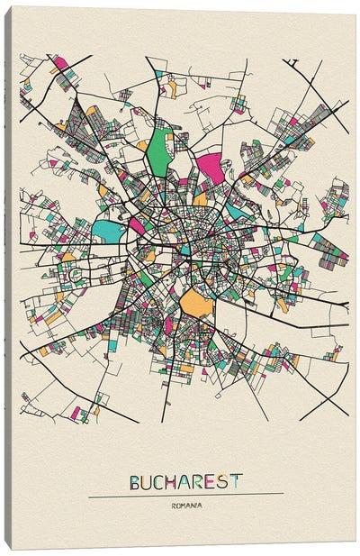 Bucharest, Romania Map Canvas Art Print