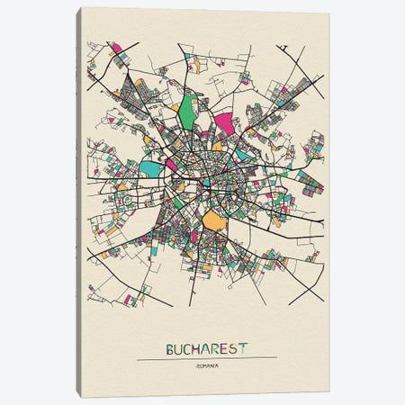 Bucharest, Romania Map Canvas Print #ADA180} by Ayse Deniz Akerman Canvas Artwork