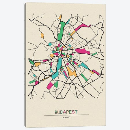Budapest, Hungary Map Canvas Print #ADA181} by Ayse Deniz Akerman Canvas Wall Art