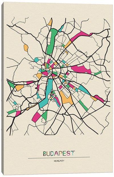 Budapest, Hungary Map Canvas Art Print