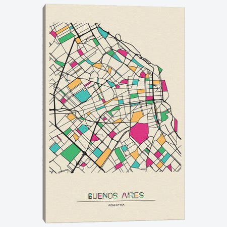 Buenos Aires, Argentina Map Canvas Print #ADA182} by Ayse Deniz Akerman Canvas Art