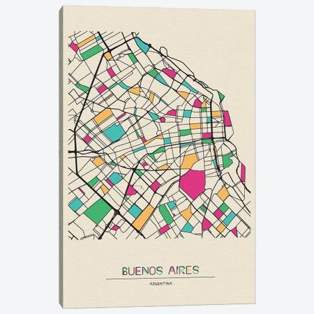 Buenos Aires, Argentina Map 3-Piece Canvas #ADA182} by Ayse Deniz Akerman Canvas Art