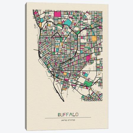 Buffalo, New York Map Canvas Print #ADA183} by Ayse Deniz Akerman Canvas Art