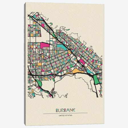 Burbank, California Map Canvas Print #ADA184} by Ayse Deniz Akerman Canvas Art Print