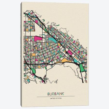 Burbank, California Map Canvas Print #ADA184} by Ayse Deniz Akerman Canvas Art Print