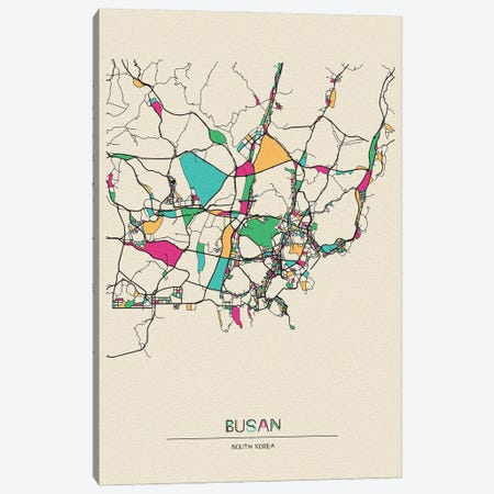 Busan, South Korea Map Canvas Print #ADA185} by Ayse Deniz Akerman Canvas Print