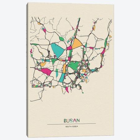 Busan, South Korea Map Canvas Print #ADA185} by Ayse Deniz Akerman Canvas Print