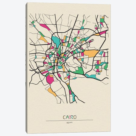 Cairo, Egypt Map 3-Piece Canvas #ADA186} by Ayse Deniz Akerman Canvas Art Print