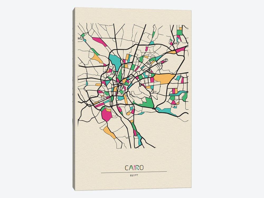 Cairo, Egypt Map by Ayse Deniz Akerman 1-piece Canvas Wall Art